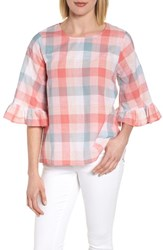 Bobeau Pastel Plaid Ruffle Sleeve Cotton Top Pink Plaid