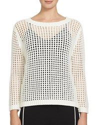 1.State Long Sleeve Chucky Pointelle Sweater Ivory
