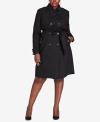 City Chic Trendy Plus Size Mystique Belted Trench Coat Black