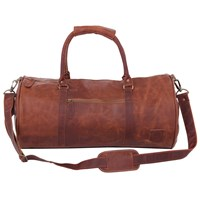 Mahi Leather Weekend Classic Duffle Holdall Overnight Gym Bag In Vintage Brown