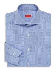Isaia Regular Fit Fancy Print Dress Shirt Light Blue