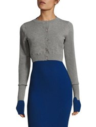 Dkny Extra Long Sleeve Cropped Cardigan Heather Grey