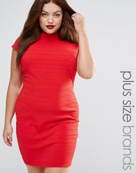 Club L Plus Bandage Dress With Cap Sleeve Red