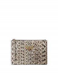 Gucci Snakeskin Fly Zip Wristlet Pouch Bag Gray