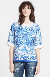 Dolcegabbana Tile Print Short Sleeve Brocade Sweatshirt White Blue