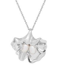 Lord And Taylor 7 5Mm Pearl White Topaz Silver Top Drilled Floral Pendant Necklace