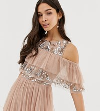 Maya Cold Shoulder Ruffle And Sequin Detail Tulle Maxi Dress In Taupe Blush Brown