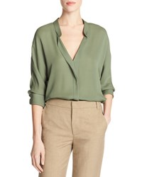 Vince Banded Collar Concealed Placket Silk Blouse Green