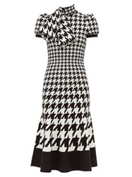 Alexander Mcqueen Houndstooth Jacquard Pussy Bow Knitted Dress Black White