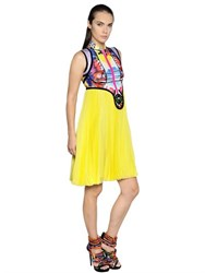 Dsquared Exotic Print Scuba And Chiffon Dress