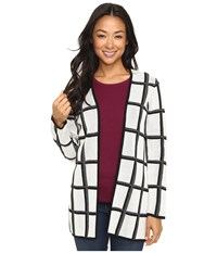 Pendleton Petite Marketa Cardigan Ivory Black Women's Sweater Multi