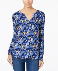 G.H. Bass And Co. Split Neck Floral Print Top Royal Black