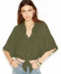 Free People Sheila's Elbow Sleeve Point Collar Drape And Tie Blouse