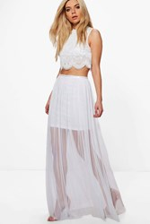 Boohoo Boutique Beaded Mesh Co Ord Set White