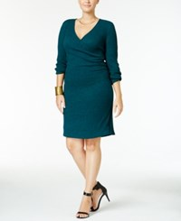 Ing Trendy Plus Size Faux Wrap Sweater Dress Deep Teal