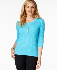 Karen Scott Three Quarter Sleeve Scoop Neck Top Only At Macy's Aqua Oasis