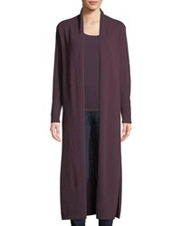 Neiman Marcus Long Cashmere Duster Cardigan Eggplant