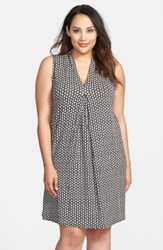 Tart Plus Size Women's 'Tara' Print Jersey A Line Dress Crochet Geo Black