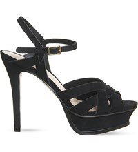Office Nostalgia Suede Heeled Sandals Black Nubuck