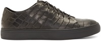 Tiger Of Sweden Black Croc Embossed Yngve Low Top Sneakers