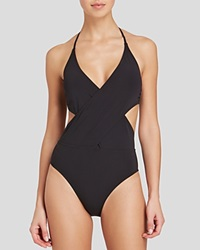 Tory Burch Solid Wrap One Piece Swimsuit Black