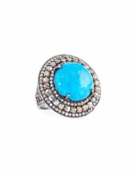Bavna Round Turquoise And Diamond Cocktail Ring Size 6.75