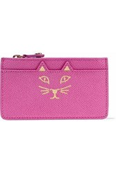 Charlotte Olympia Feline Metallic Printed Textured Leather Coin Purse Pink