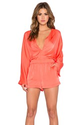 Bcbgmaxazria Danae Plunge Neck Romper Orange