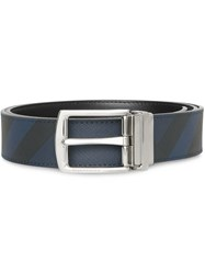 Burberry Reversible London Check And Leather Belt Blue