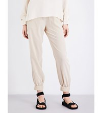 Theory Courtland Skinny Mid Rise Woven Trousers Light Barley