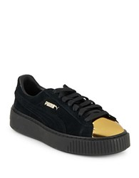 Puma Lace Up Suede Platform Sneakers Black Yellow