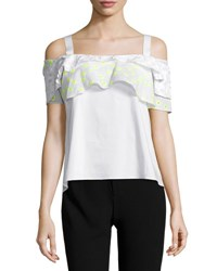 Maiyet Ruffled Cold Shoulder Top White Yellow White Yellow