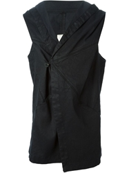 Isabel Benenato Hooded Wrap Gilet Black