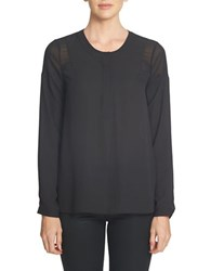 1.State Long Sleeve Sheer Shoulder Henley Blouse Rich Black