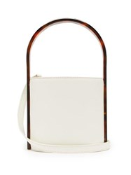 Staud Bisset Acetate And Leather Bucket Bag White Multi
