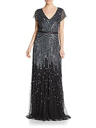 Adrianna Papell Beaded Short Sleeve Gown Gunmetal