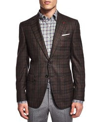 Isaia Plaid Two Button Sport Coat Brown