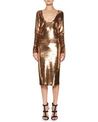 Tom Ford Sequined Long Sleeve Scoop Neck Dress Brown