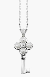 Lagos 'Luna Pearl' Long Key Pendant Necklace Silver Pearl
