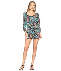 Splendid Farmhouse Floral Romper Cover Up Multi Women's Jumpsuit And Rompers One Piece