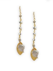 Alanna Bess 3.18Mm Freshwater Pearl And Labradorite Drop Earrings Gold