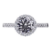 Carat London Sterling Silver Round Engagement Ring Silver
