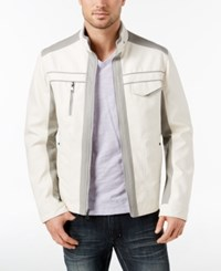 Inc International Concepts Men's Jones Two Tone Faux Leather Jacket Created For Macy's White Pure