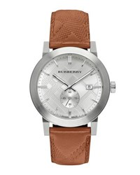 Burberry 42Mm Stainless Steel And Leather City Watch Brown