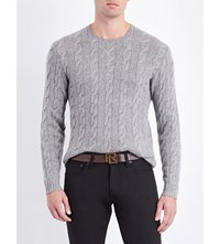 Ralph Lauren Purple Label Cable Knit Cashmere Jumper Classic Light G