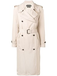 Tom Ford Double Breasted Trench Coat Neutrals