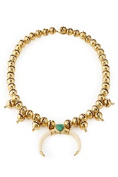 Aurelie Bidermann Aurelie Bidermann Navajo 18Kt Gold Plated Necklace With Turquoise And Horn