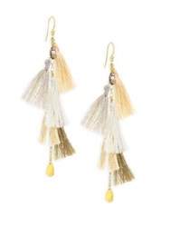 Chan Luu Smokey Quartz And Multi Tassel Drop Earrings
