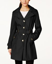 Calvin Klein Hooded Single Breasted Water Resistant Trench Coat Black