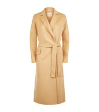 Maje Geode Long Double Face Belted Coat Female Neutral
